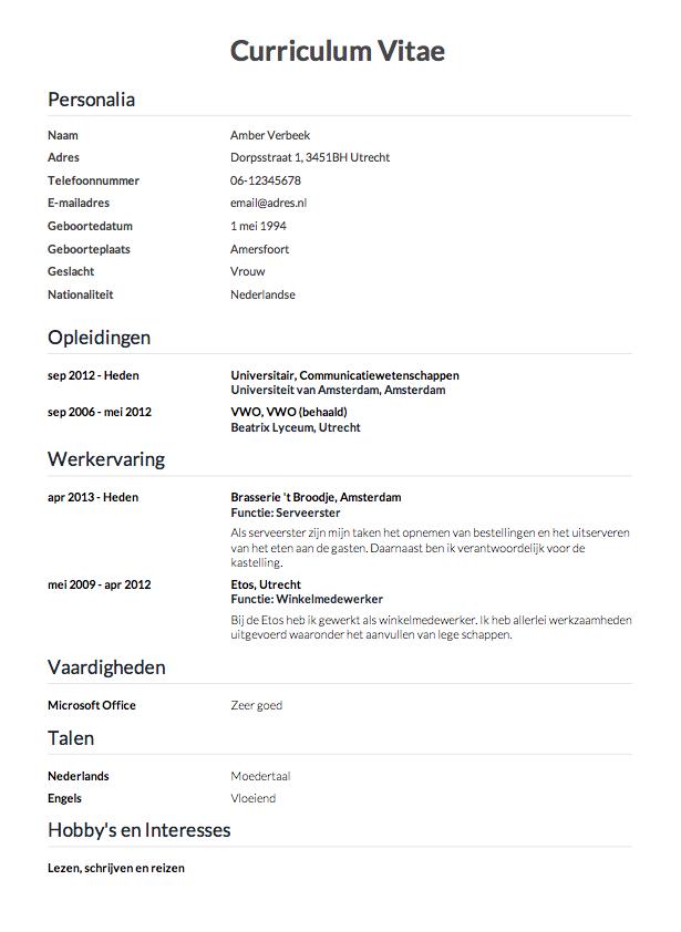 hoe maak je cv CV maken in 3 stappen? • Invullen en direct je CV downloaden   CV.nl
