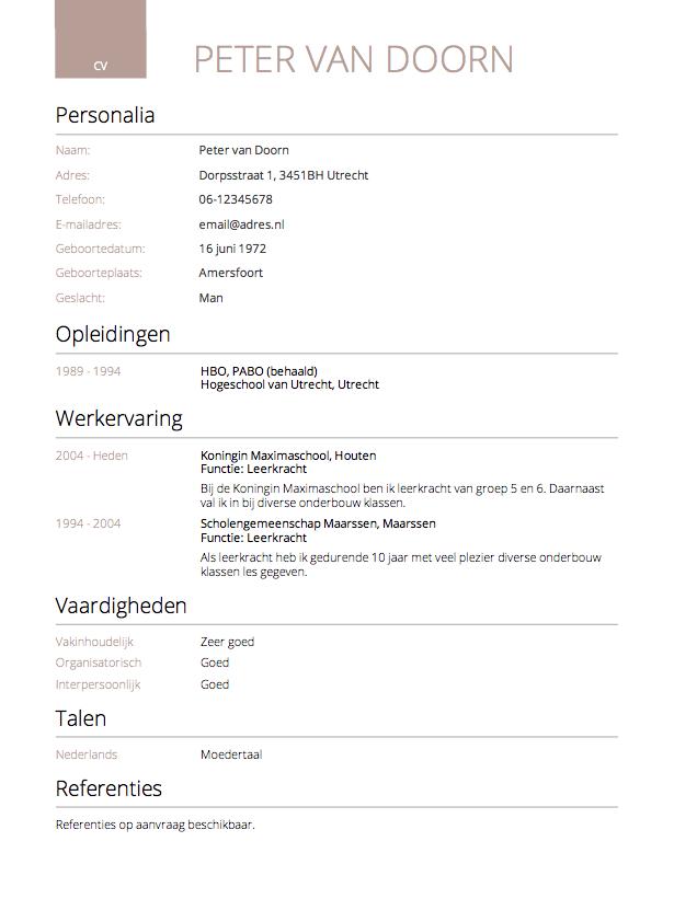 maken van cv CV maken in 3 stappen? • Invullen en direct je CV downloaden   CV.nl
